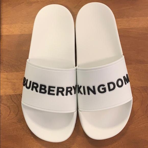 white Burberry slides